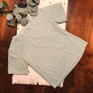 """Tops - Light Green """"New York"""" Cropped Tee"""